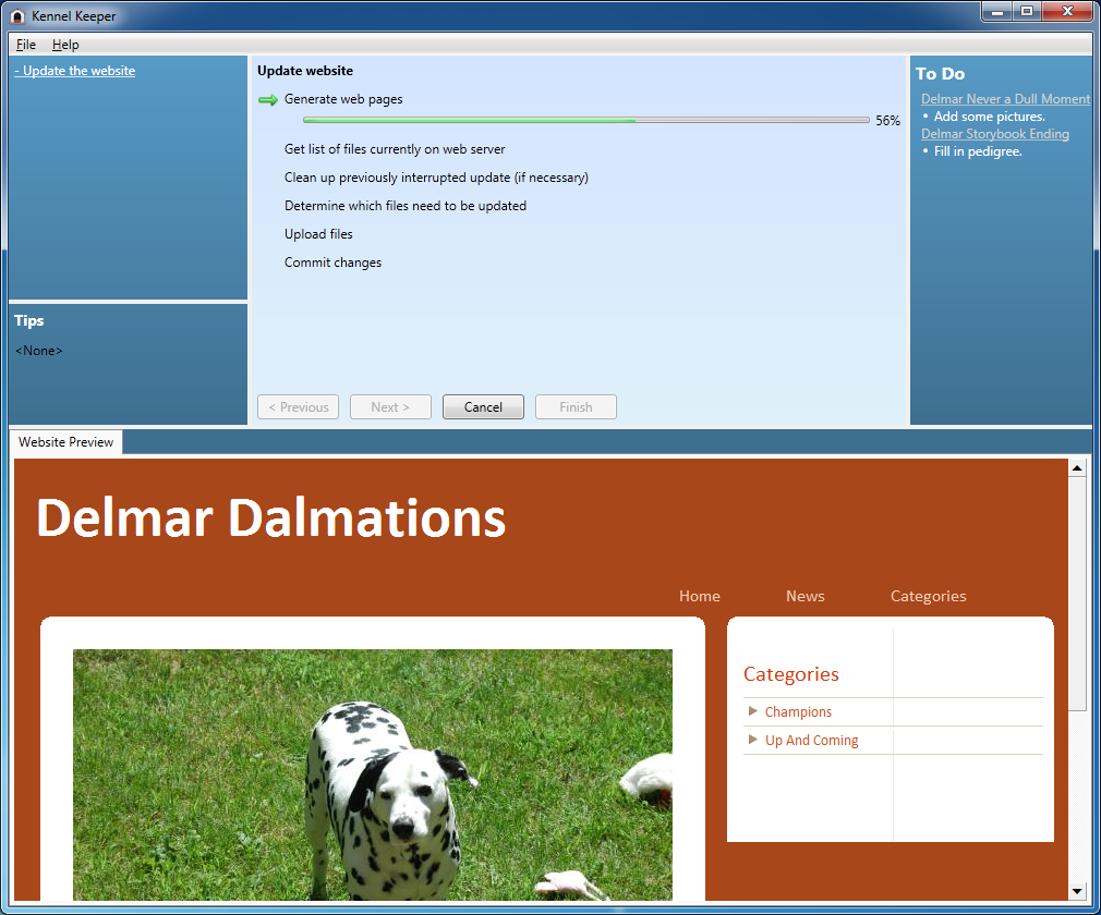 Kennel Keeper screenshot: dog, kennel, breeder, website, web site, webpage, web page, design, manage, create, make, affordable, builder, CMS, picture gallery, slideshow, pedigree, professional